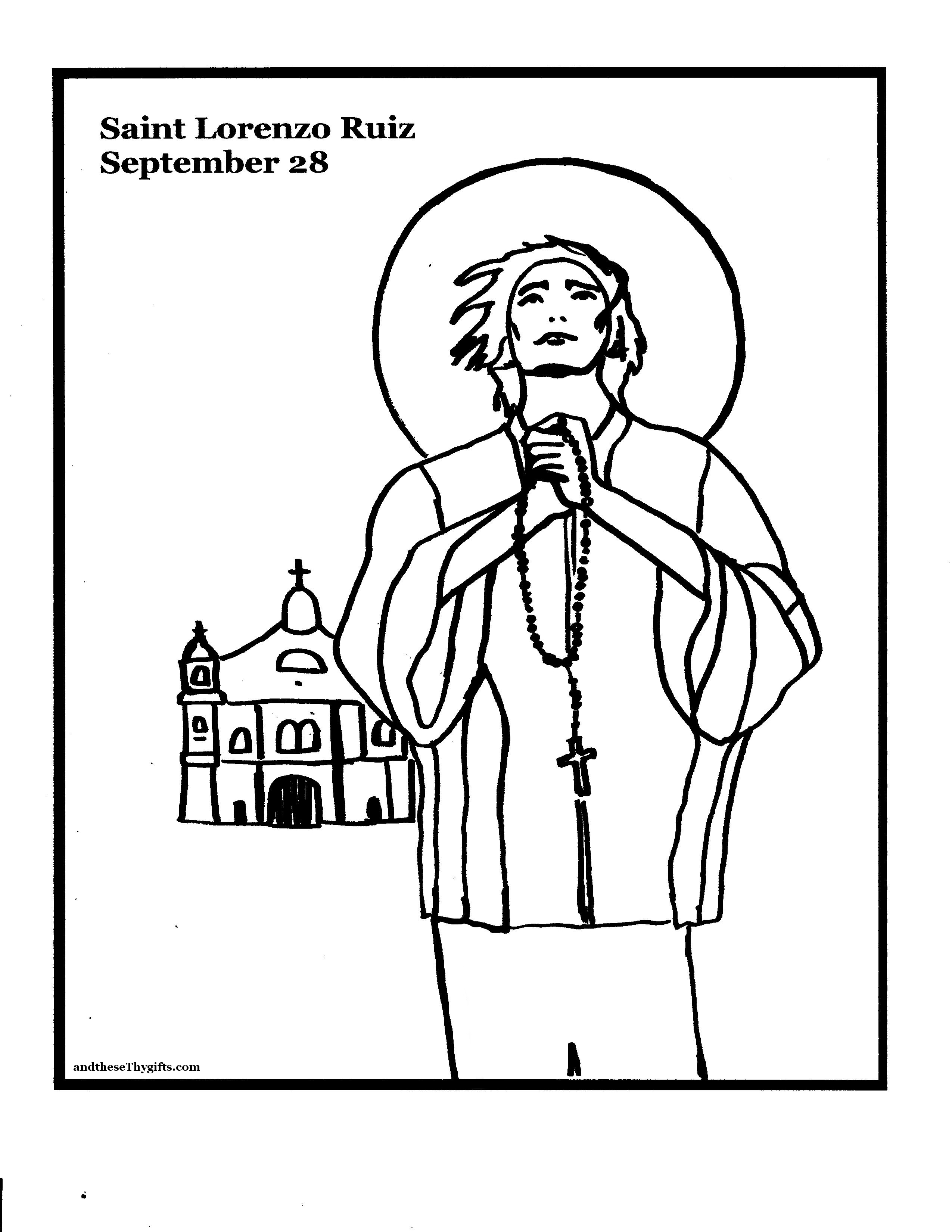 St. Lorenzo Ruiz Coloring Page | ... and these Thy gifts ...
